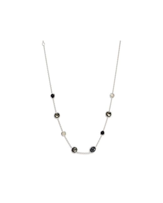 Ippolita | Multicolor Sterling Silver Rock Candy Mini Gelato Short Station Necklace In Black Tie, 16"