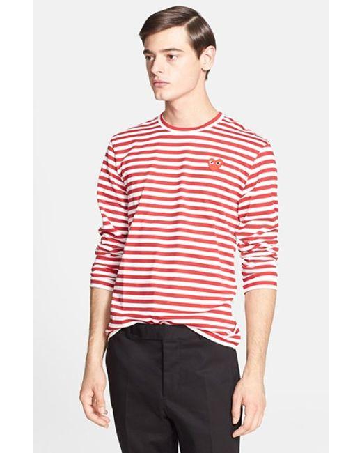 Comme des Garçons | Red Play Long Sleeve Stripe Crewneck T-shirt for Men | Lyst