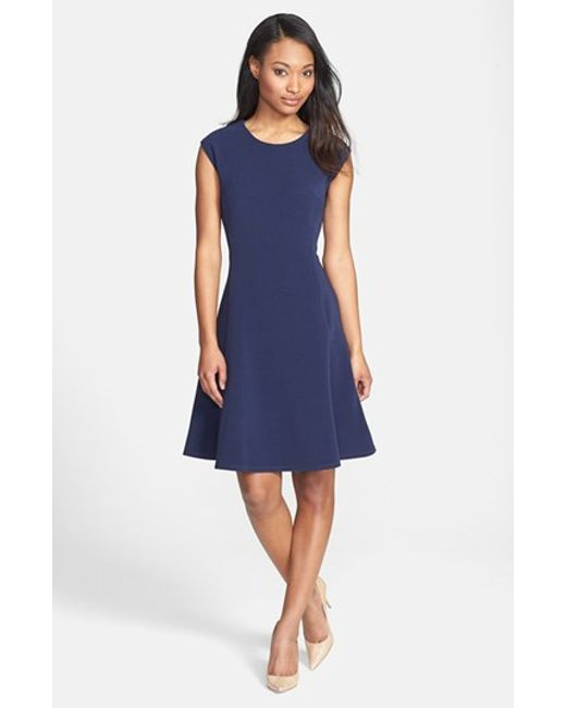 Halogen Ottoman Knit Fit & Flare Dress in Blue (navy ...
