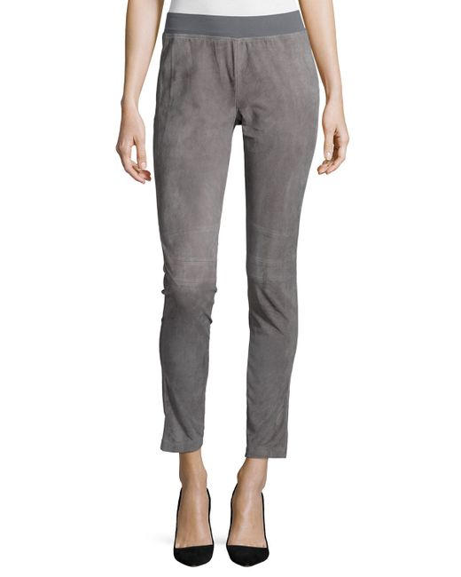 Lafayette 148 New York   Gray Suede-front Knit-back Moto Pants   Lyst