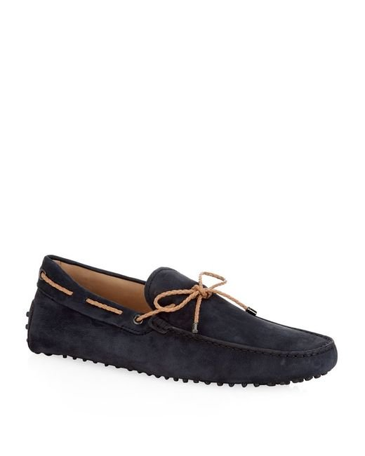 Tod's | Blue Laced Gommino Nubuck Driving Shoe for Men | Lyst