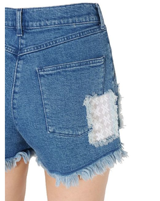 House Of Holland Embroidered Patches Cotton Denim Shorts In Blue Lyst