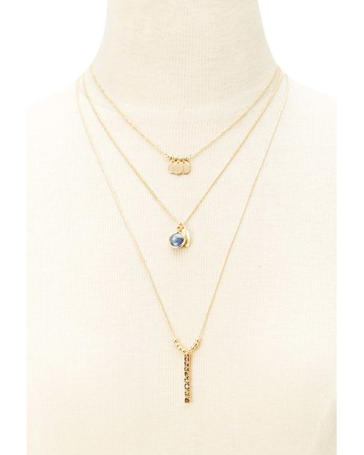 Forever 21 | Metallic Layered Teardrop Charm Necklace | Lyst
