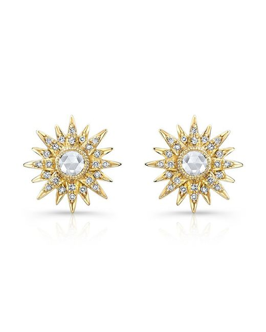 Anne Sisteron - Metallic 14kt Yellow Gold Diamond Vintage Style Starburst Stud Earrings - Lyst