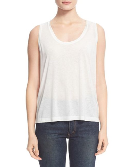 T By Alexander Wang | White Low Neck Flared Tank | Lyst