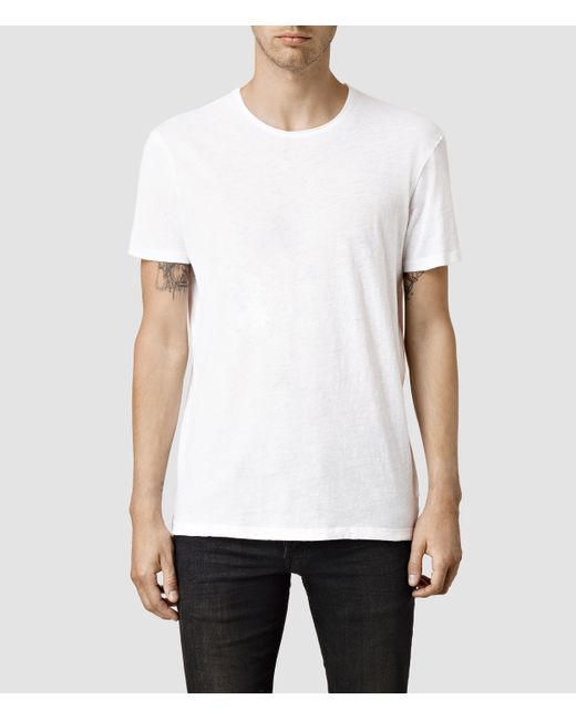 AllSaints | White Figure Crew T-shirt for Men | Lyst