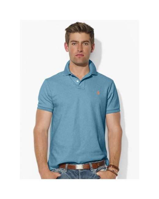 Polo Ralph Lauren | Blue Custom-fit Mesh Polo Shirt for Men | Lyst