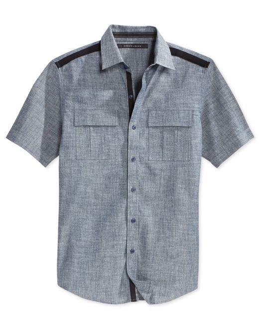 Sean john men 39 s solid twill short sleeve big tall shirt for Sean john t shirts for mens