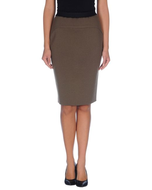 les copains knee length skirt in khaki