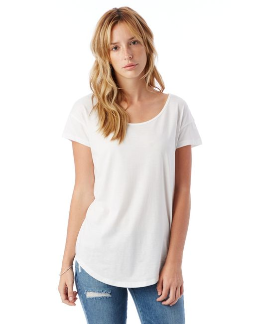 Alternative apparel origin cotton modal t shirt in white for Modal t shirts mens