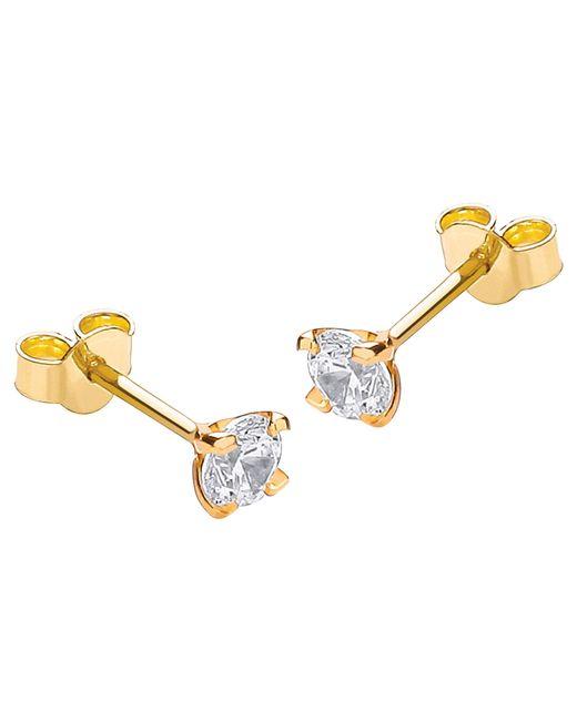 Ib&b | 9ct Yellow Gold Cubic Zirconia Stud Earrings | Lyst