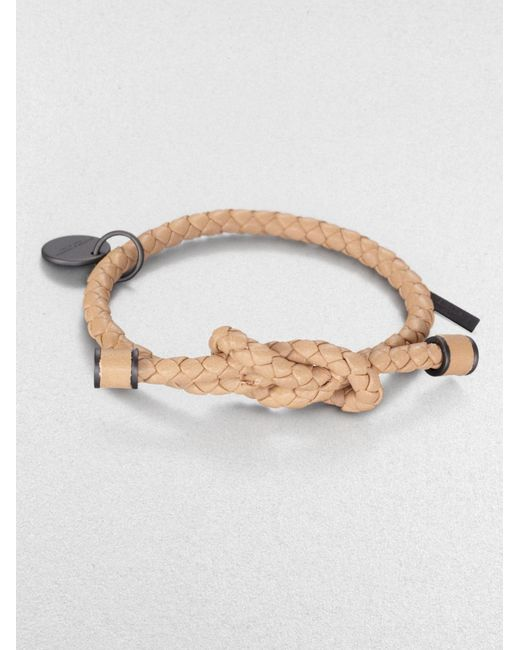 Bottega Veneta | Natural Intrecciato Knotted Leather Bracelet | Lyst
