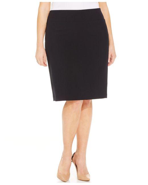 alfani plus size classic pencil skirt in black black