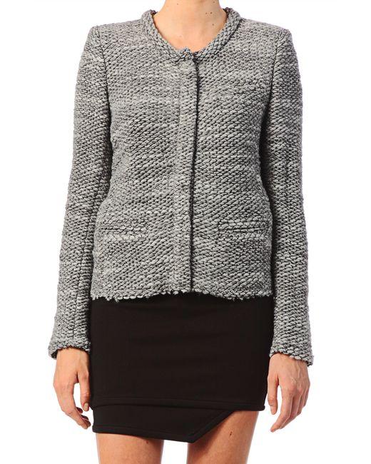 IRO | Gray Bessie Melange Zip-front Jacket | Lyst