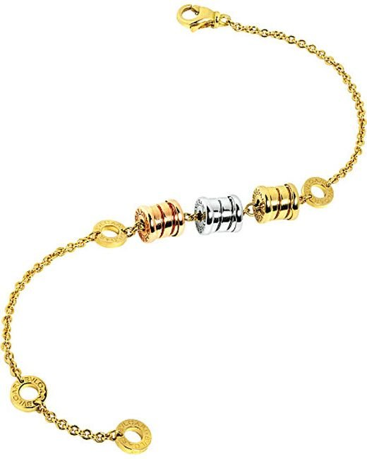 BVLGARI | Metallic B.zero1 Soft 18ct Yellow, White And Pink-gold Bracelet | Lyst