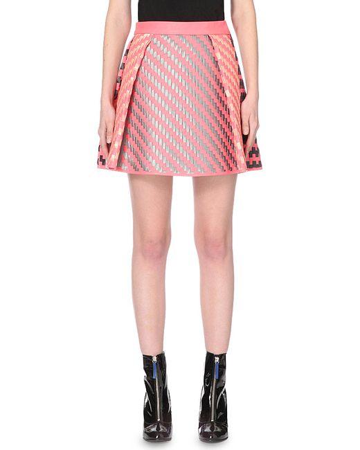 martina spetlova woven leather skater skirt in pink lyst