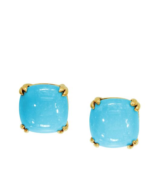 Effy | Blue 14k Yellow Gold Turquoise Stud Earrings | Lyst