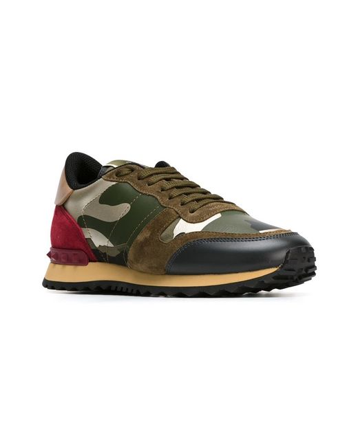 e6c32738214c Valentino Rockrunner Paneled Camouflage Sneakers in Green