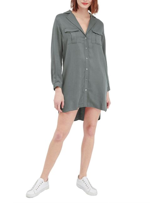 French Connection Kruger Tencel Shirt Dress In Green