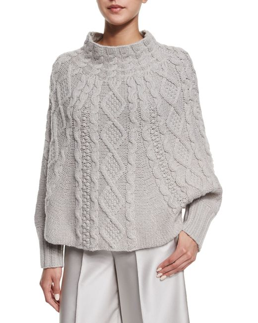 Knitting Pattern For Poncho With Sleeves : Co. Cable-knit Long-sleeve Poncho in Gray Lyst