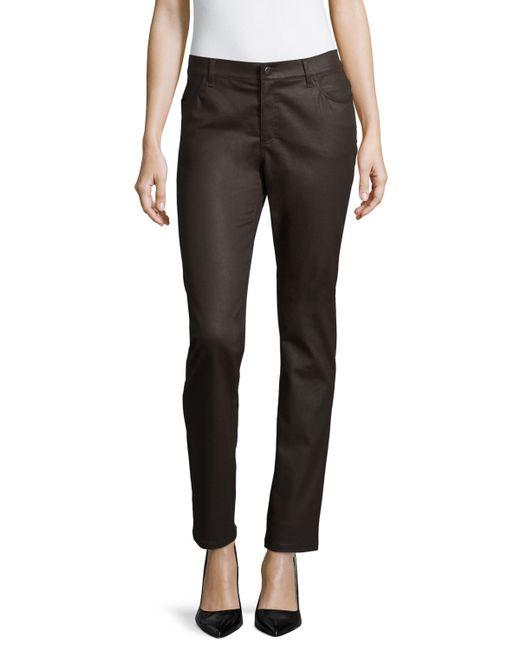 Lafayette 148 New York | Brown Wax Denim Curvy Slim-leg Jeans | Lyst