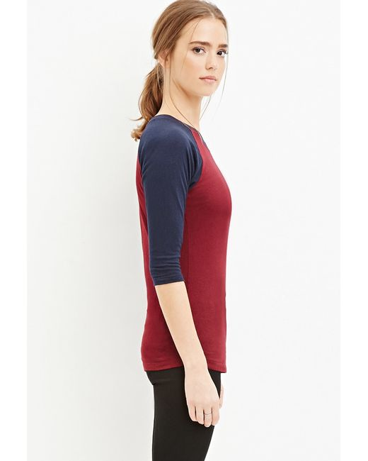 Forever 21 | Purple Burnout Knit Baseball Tee | Lyst