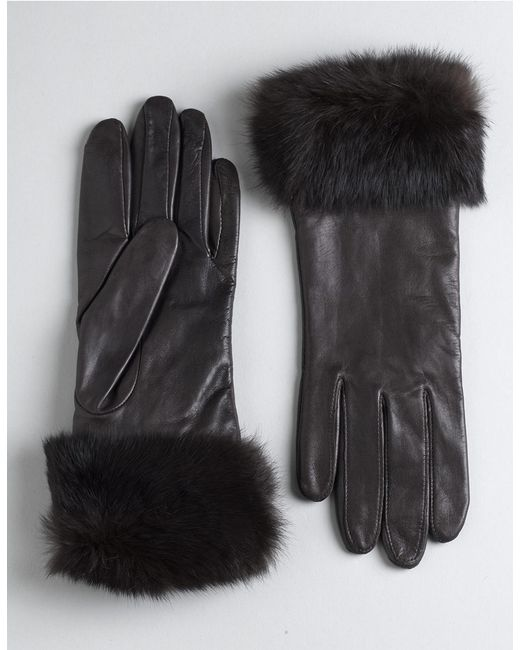 Lord & Taylor | Brown Leather Rabbit Fur-cuff Gloves | Lyst