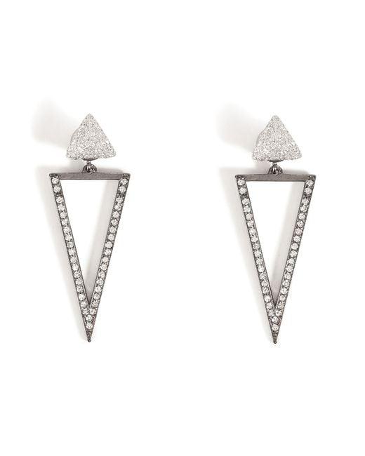 Ileana Makri | 18kt White Gold Bermuda Triangle Earrings With Diamonds | Lyst