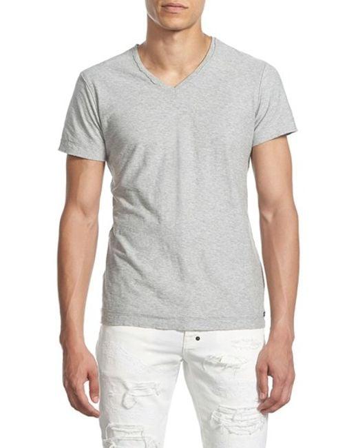 Diesel 39 tossik 39 v neck t shirt in gray for men heather for Mens diesel v neck t shirts