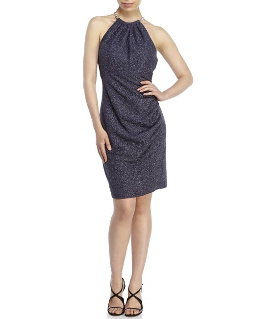 Eliza j Halter Necklace Shimmer Dress in Gray (Steel) - Save 69% | Lyst