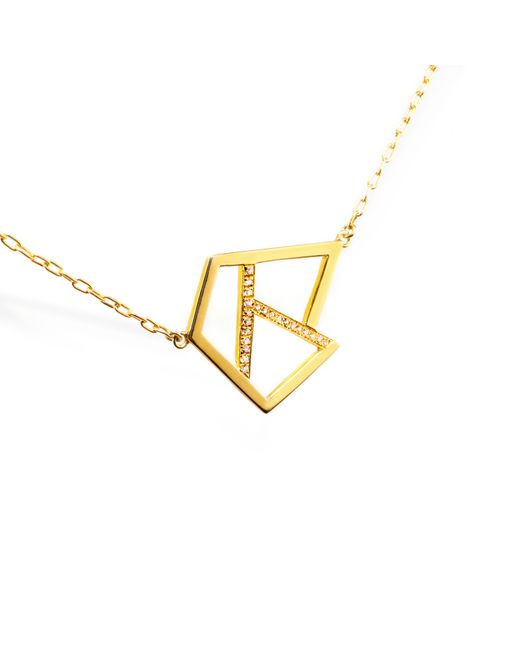 Ona Chan Jewelry | Metallic Triple Lattice Necklace With Sapphire Gold | Lyst