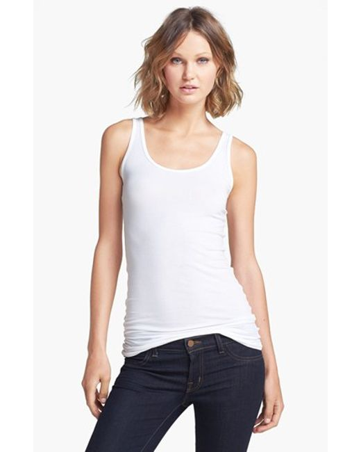 Splendid | White Scoop Neck Stretch Tank | Lyst