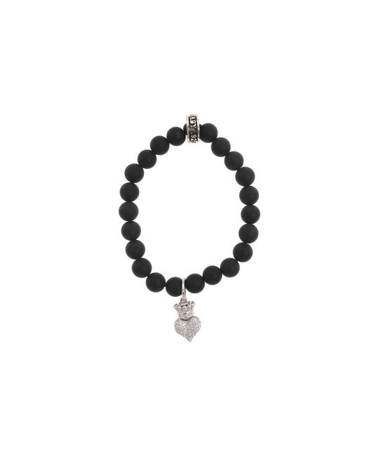 King Baby Studio | Metallic Onyx Bead Bracelet With Baby Crowned Heart | Lyst
