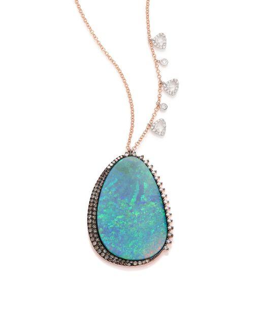 Meira T | Blue Boulder Opal, Diamond, 14k White & Rose Gold Pendant Necklace | Lyst