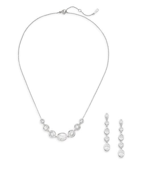 Adriana Orsini | Metallic White Stone Necklace & Earrings Gift Box Set/silvertone | Lyst