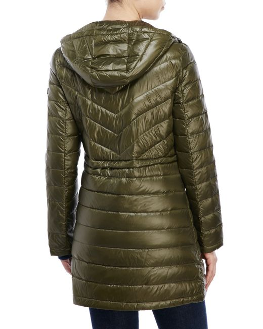 Dkny Hooded Packable Down Jacket In Green Loden Lyst