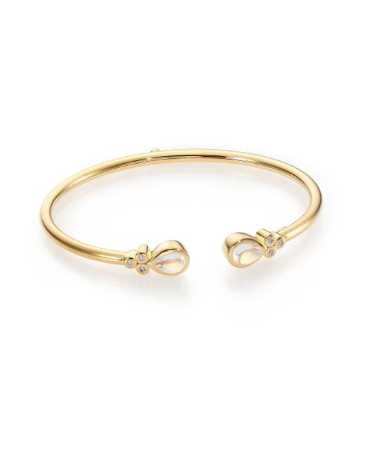 Temple St. Clair | Metallic Bellina Royal Blue Moonstone, Diamond & 18k Yellow Gold Bangle Bracelet | Lyst