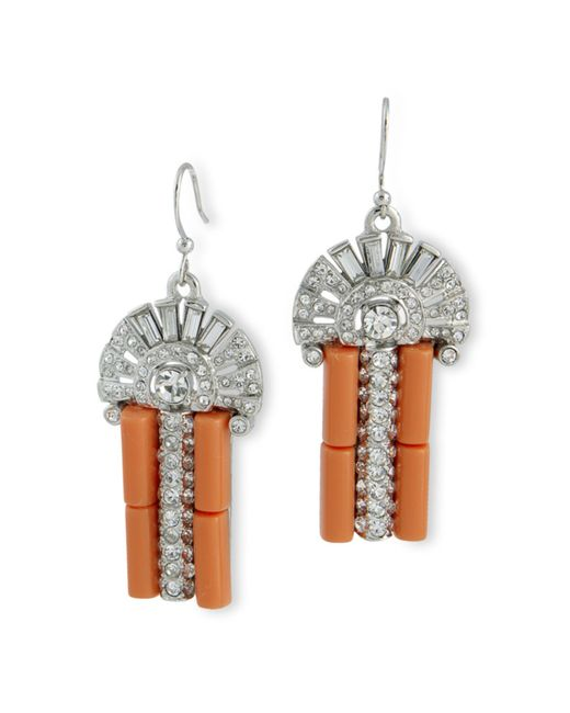 Kenneth Jay Lane | Pink Coral Art Deco Fishook Top Earring | Lyst