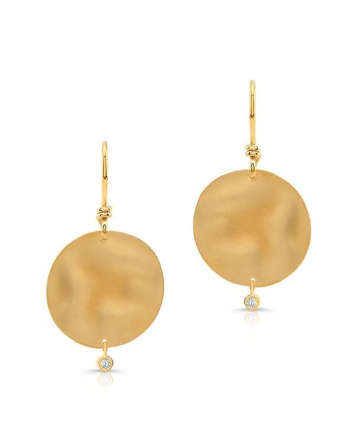 Anne Sisteron | Metallic 14kt Yellow Gold Round Ripple Diamond Earring | Lyst