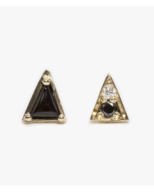 Mociun | Black Onyx Mismatched Triangle Studs | Lyst