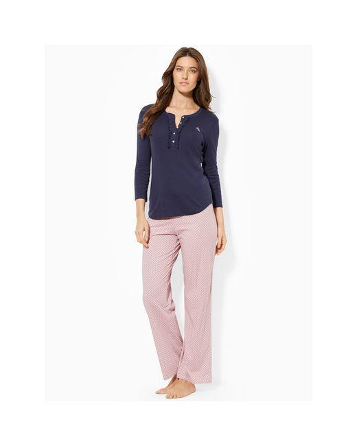 Pink Pony | Blue Ruffled-trim Henley | Lyst