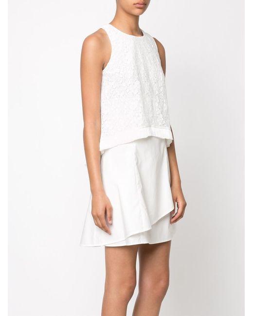 10 Crosby Derek Lam Sleeveless Layered Dress In White