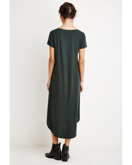 Forever 21   Green Curved-hem T-shirt Dress   Lyst