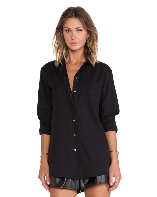 Atm Boyfriend Oversized Dress Shirt In Black Lyst