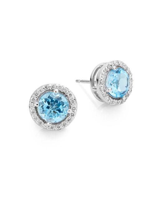 Effy | Final Call Diamond, Blue Topaz & 14k White Gold Stud Earrings | Lyst