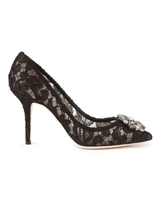 Dolce & Gabbana | Black Macrame Lace Pumps | Lyst