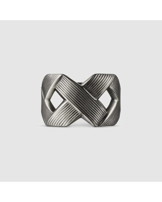 Gucci | Metallic Ring With Crisscross Design for Men | Lyst