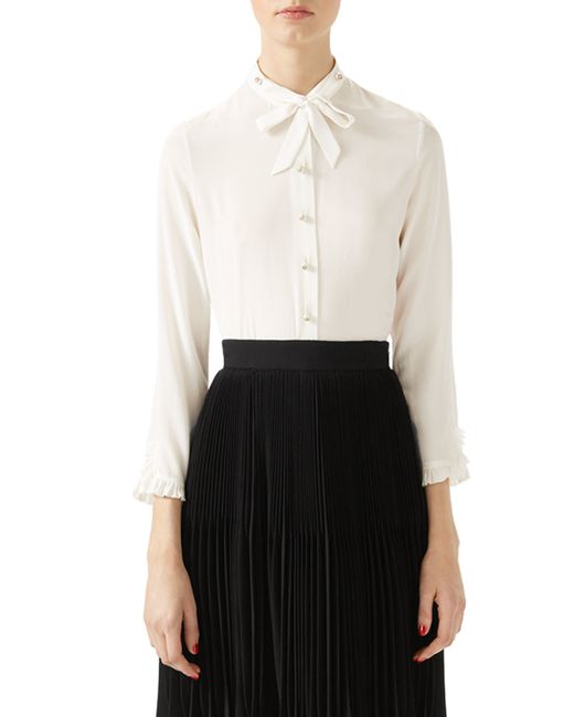 Gucci silk button down shirt in white lyst for Silk button down shirt