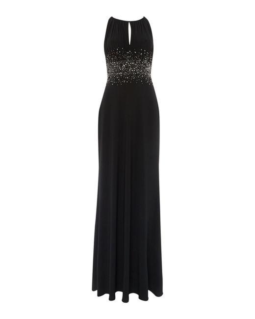 JS Collections | Black Jewel Waist Keyhole Maxi Dress | Lyst
