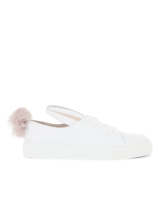 Minna Parikka | Pink White Leather Bunny Ears & Faux Fur Tail Trainers | Lyst